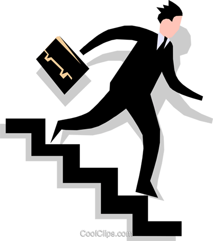 man going down stairs Royalty Free Vector Clip Art illustration peop1765