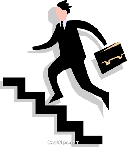 man going up stairs Royalty Free Vector Clip Art illustration peop1766