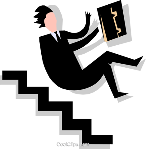 man falling down stairs Royalty Free Vector Clip Art illustration peop1767