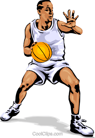 Basketball player dribbling ball Royalty Free Vector Clip Art illustration peop1776