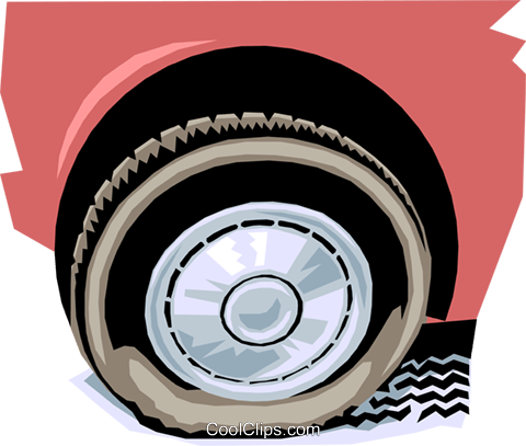 flat tire Royalty Free Vector Clip Art illustration tran0576