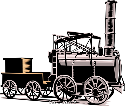 old fashioned steam engine Royalty Free Vector Clip Art illustration tran0578