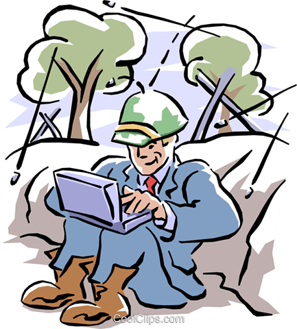 man working on laptop Royalty Free Vector Clip Art illustration cart1542
