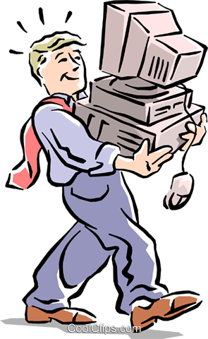 man carrying PC Royalty Free Vector Clip Art illustration cart1547