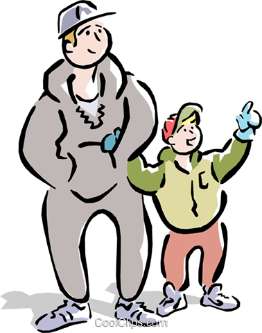 Dad and son going for a walk Royalty Free Vector Clip Art illustration cart1553