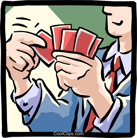 man playing cards Royalty Free Vector Clip Art illustration cart1585