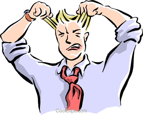 man pulling his hair out Royalty Free Vector Clip Art illustration cart1587