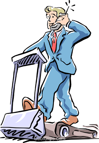 communications/man on treadmill Royalty Free Vector Clip Art illustration cart1611