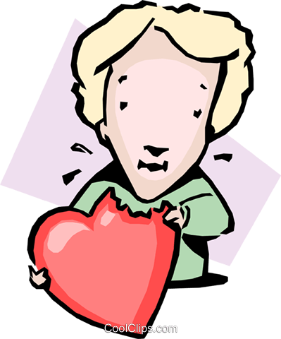 eating a heart Royalty Free Vector Clip Art illustration cart1637