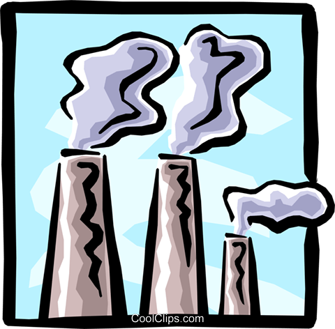 smoke stacks Royalty Free Vector Clip Art illustration envi0188