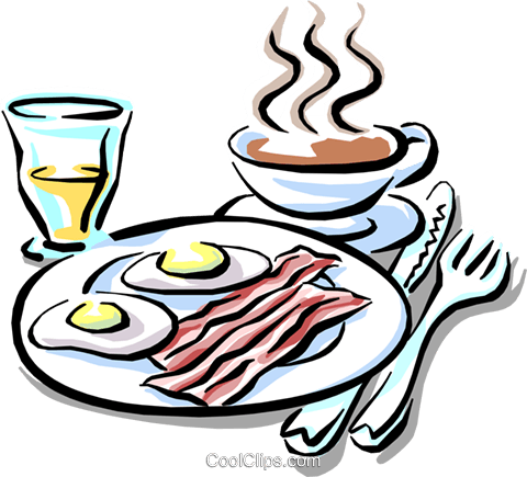 breakfast of bacon & eggs with coffee Royalty Free Vector Clip Art illustration food0728