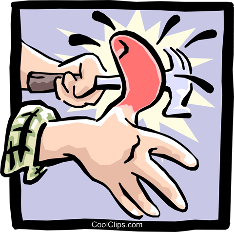 hitting thumb with hammer Royalty Free Vector Clip Art illustration hand0215