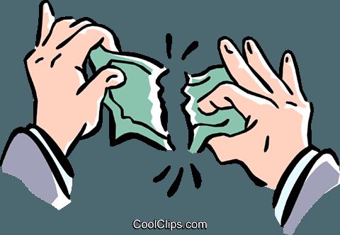 Reißen Geld abgesehen Vektor Clipart Bild -hand0217-CoolCLIPS.com