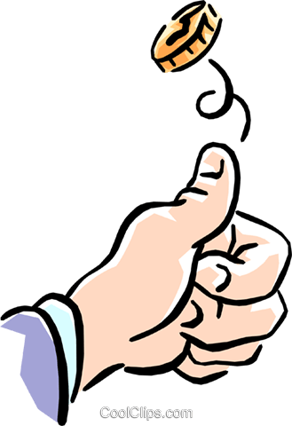 flipping a coin Royalty Free Vector Clip Art illustration hand0219
