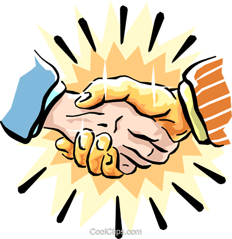 the golden handshake Royalty Free Vector Clip Art illustration hand0223