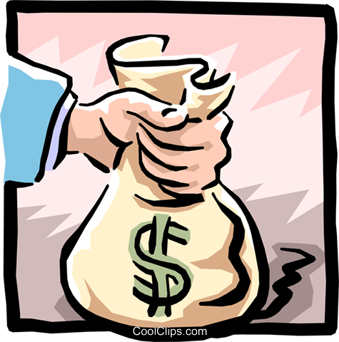 hands, holding money bag Royalty Free Vector Clip Art illustration hand0227