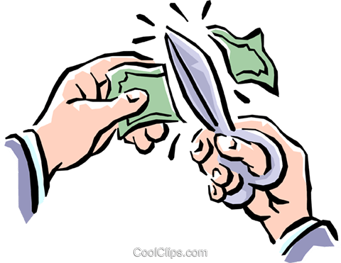cutting money Royalty Free Vector Clip Art illustration hand0228