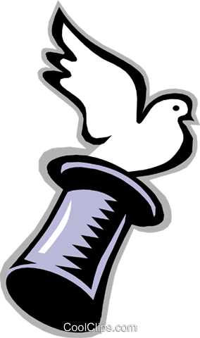 bird, dove flying from magician's hat Royalty Free Vector Clip Art illustration anim1406