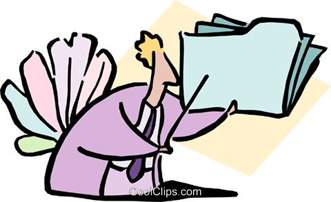 man holding folder Royalty Free Vector Clip Art illustration cart1690