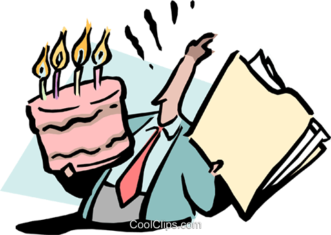 office birthday Royalty Free Vector Clip Art illustration cart1695