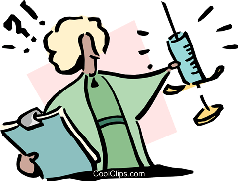 medical person holding needle Royalty Free Vector Clip Art illustration cart1720