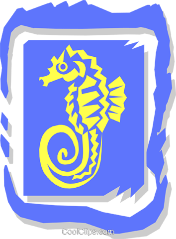 sea horse Royalty Free Vector Clip Art illustration anim1418