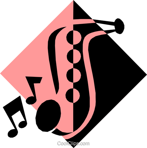 saxophone symbol Royalty Free Vector Clip Art illustration arts0338