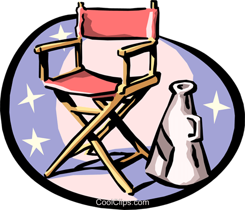 Director's chair and megaphone Royalty Free Vector Clip Art illustration arts0368