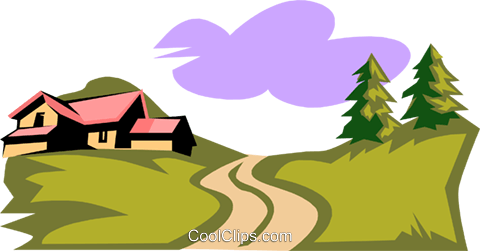 landscape/country setting Royalty Free Vector Clip Art illustration natu0642
