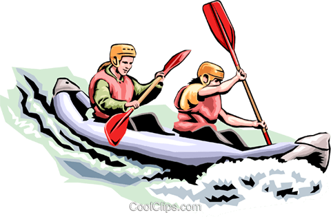 People Kayaking Royalty Free Vector Clip Art illustration peop1786