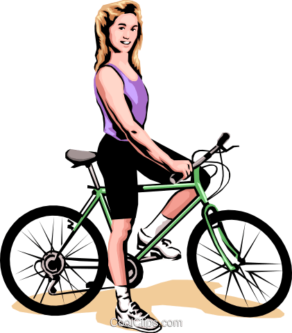 Woman on bicycle Royalty Free Vector Clip Art illustration peop1789