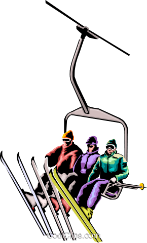 Skiers on chair lift Royalty Free Vector Clip Art illustration peop1790