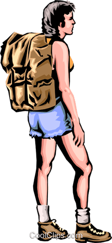 Hiker with back pack Royalty Free Vector Clip Art illustration peop1796