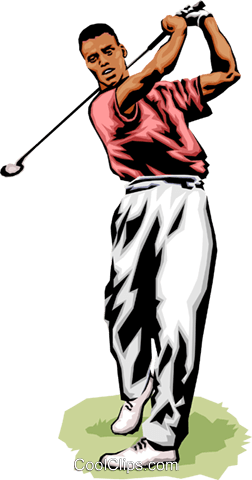 Golfer making shot Royalty Free Vector Clip Art illustration peop1797