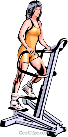 Woman on exercise machine Royalty Free Vector Clip Art illustration peop1803