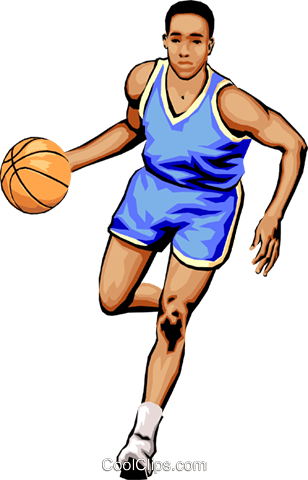 Basketball player dribbling ball Royalty Free Vector Clip Art illustration peop1810