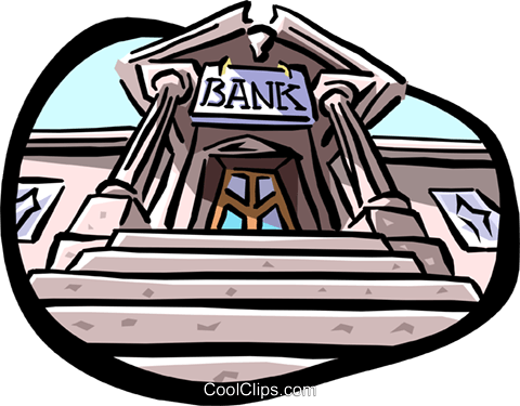 Entrance to bank Royalty Free Vector Clip Art illustration busi0990
