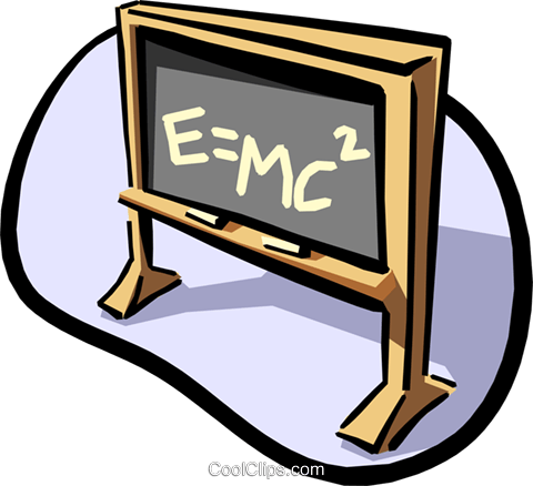 Black board E=MC2 Royalty Free Vector Clip Art illustration busi0991