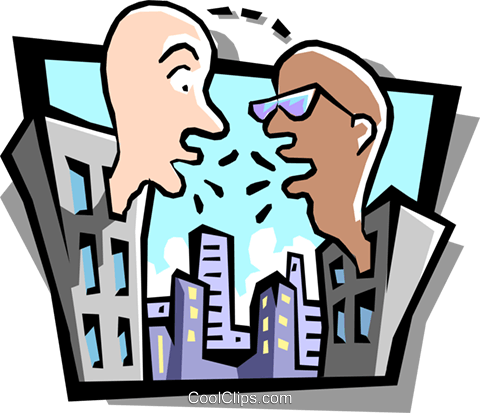conversation between two offices Royalty Free Vector Clip Art illustration busi1003