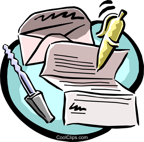 letter writing equipment Royalty Free Vector Clip Art illustration busi1030