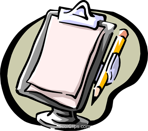 clipboard and pencil Royalty Free Vector Clip Art illustration busi1044