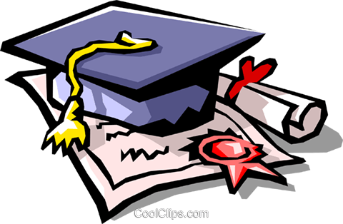 diploma with graduate's cap Royalty Free Vector Clip Art illustration busi1066