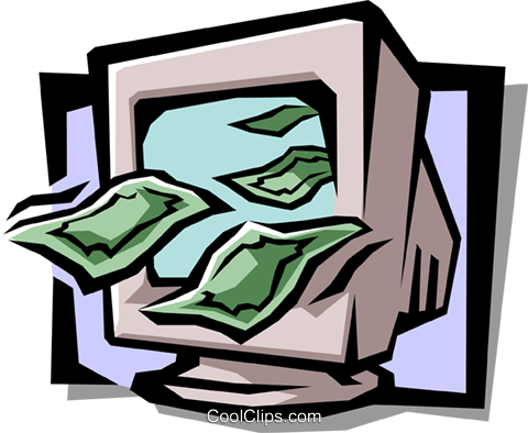 computer monitor with dollar bills Royalty Free Vector Clip Art illustration busi1069