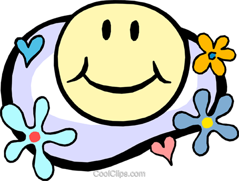 happy face in flower power motif Royalty Free Vector Clip Art illustration cart1844