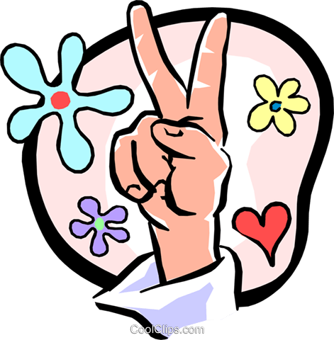 peace sign/hand Royalty Free Vector Clip Art illustration hand0240