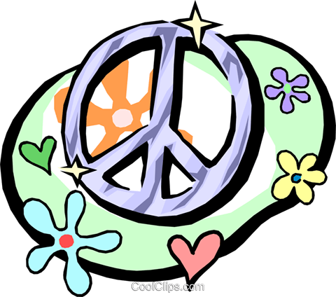 peace sign with flower power symbols Royalty Free Vector Clip Art illustration hous0925