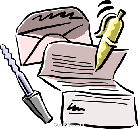 letter with pen and letter opener Royalty Free Vector Clip Art illustration busi1083