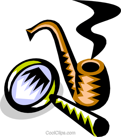 pipe and magnifying glass Royalty Free Vector Clip Art illustration busi1114
