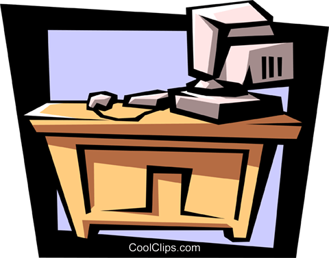desk with computer Royalty Free Vector Clip Art illustration busi1125