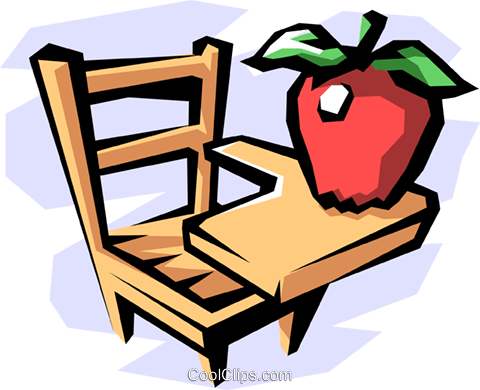 school desk with apple Royalty Free Vector Clip Art illustration busi1128